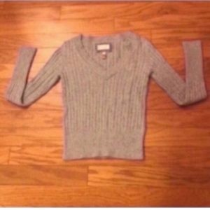 American Eagle Gray Cable Knit Sweater
